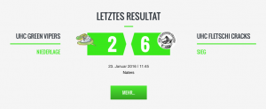 Letztes Resultat des UHC Green Vipers